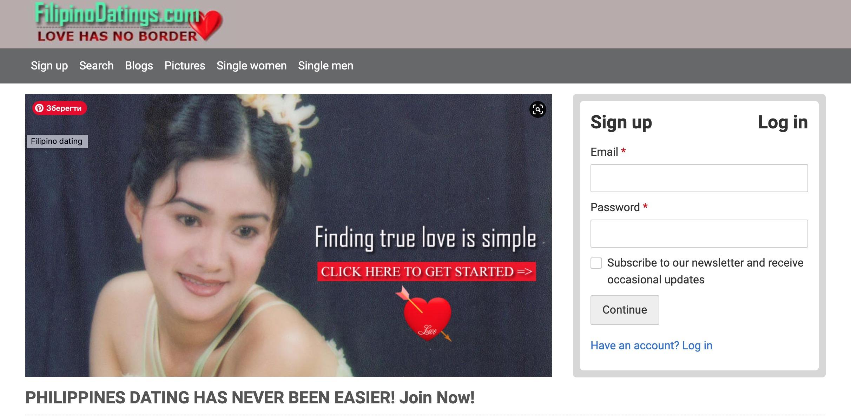 FilipinoDatings main page