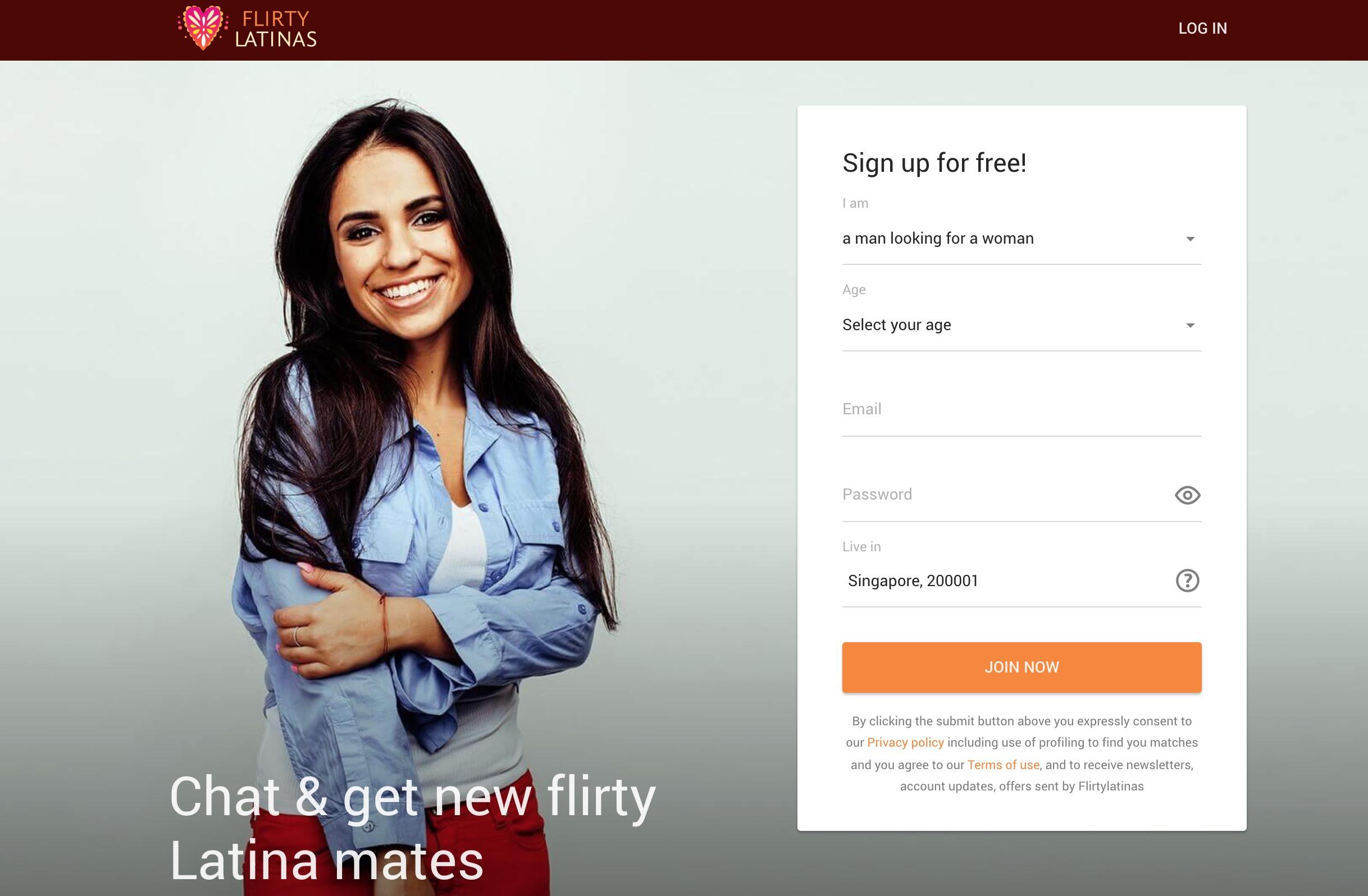 FlirtyLatinas main page
